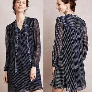 Anthropologie 11.1 TYLHO Isla Blue Dot Dress Small